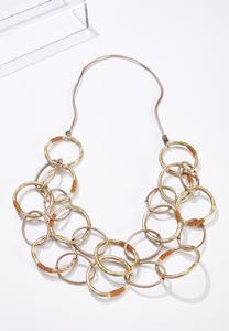 Gold Circle Bib Necklace