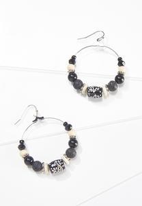 Contrast Tribal Hoop Earrings