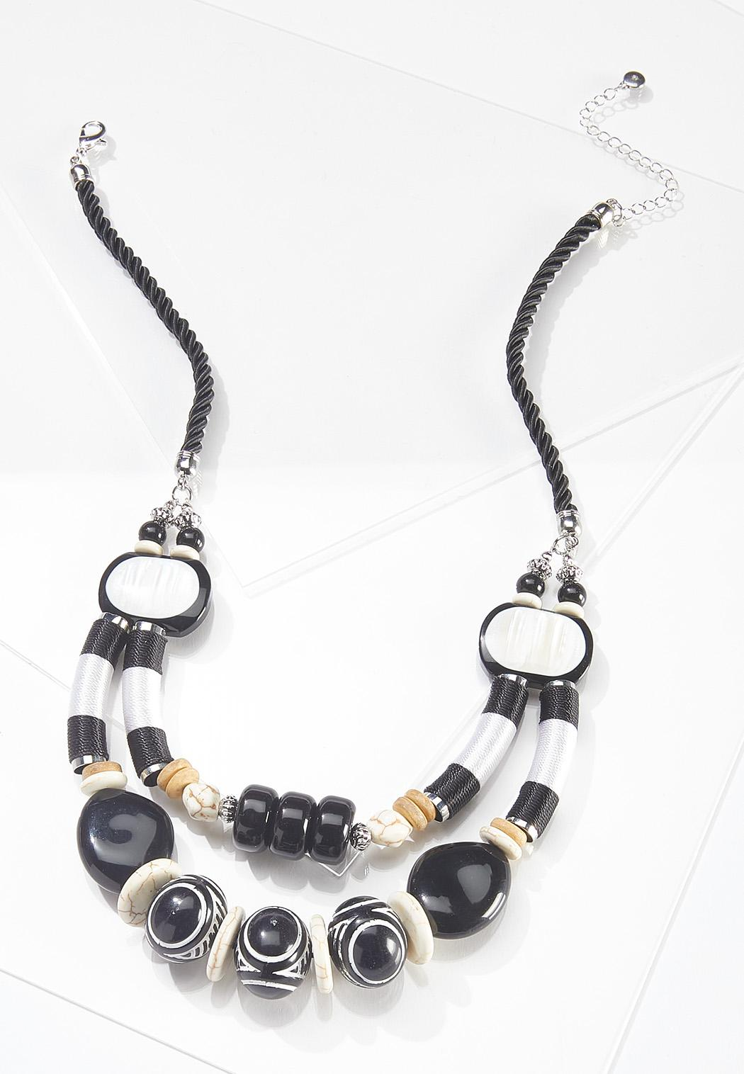 Chunky Tribal Bead Cord Necklace