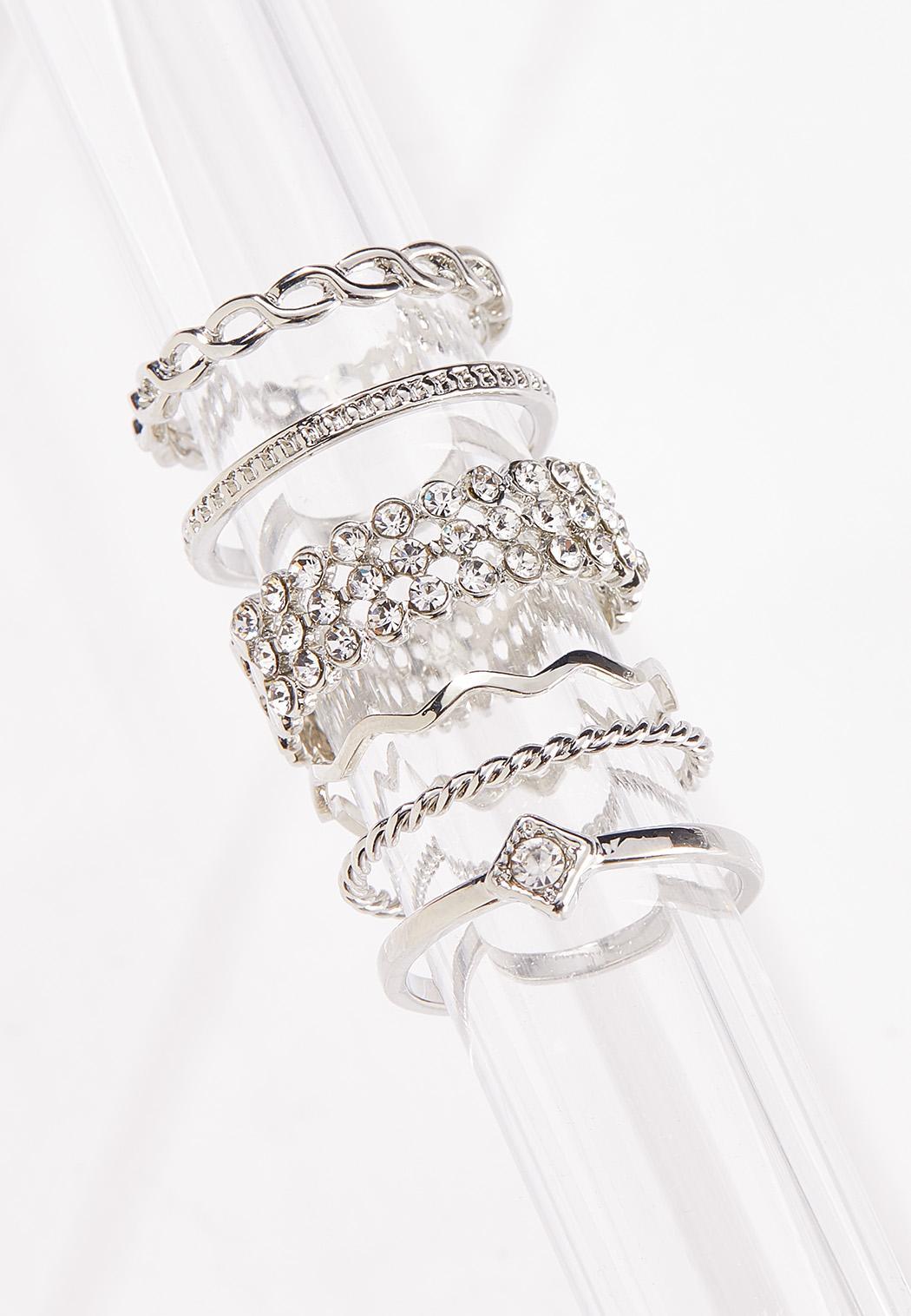 Multi Silver Stone Ring Set