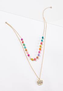Layered Inspirational Bead Disc Necklace