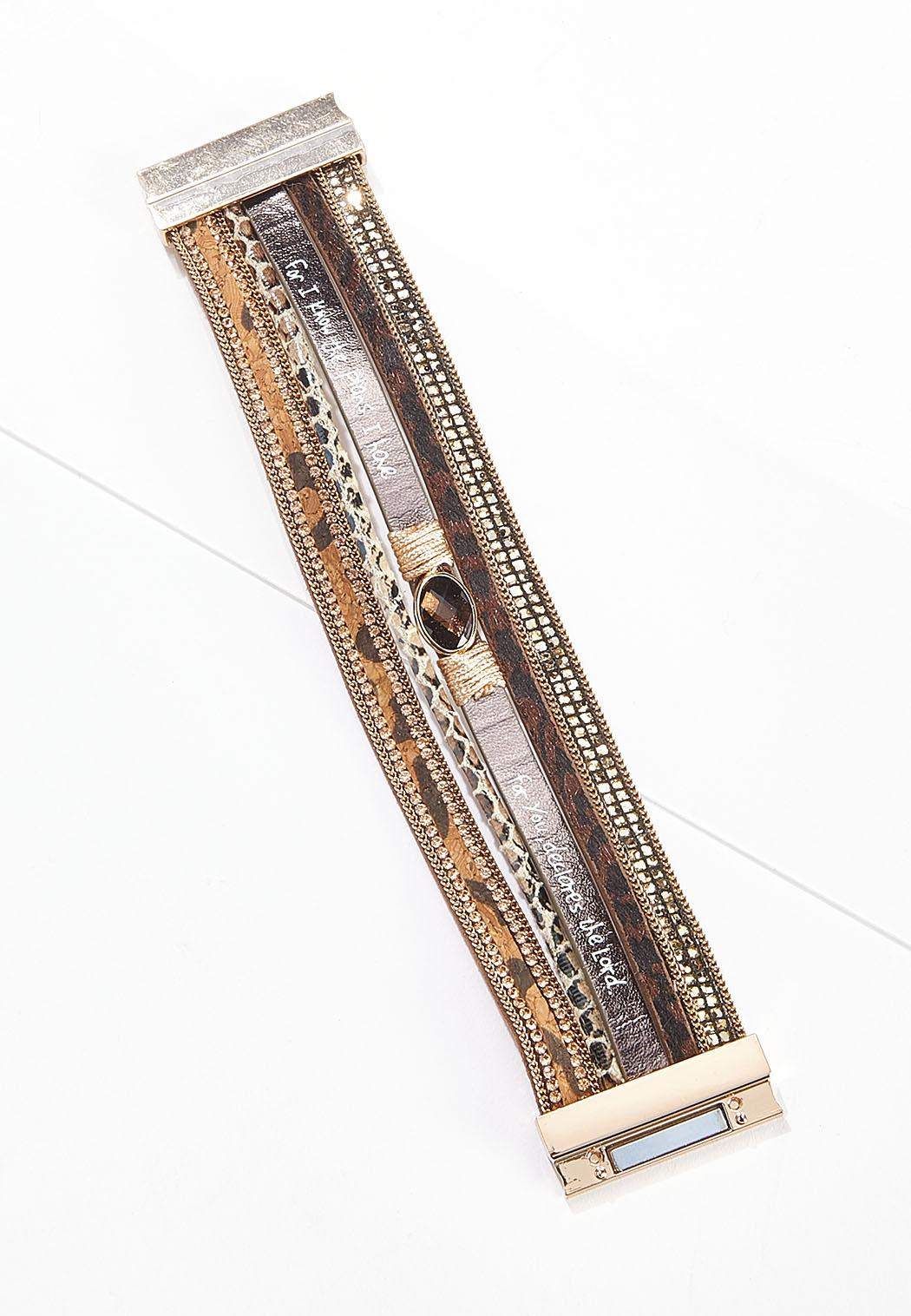 Mixed Faux Leather Band Bracelet