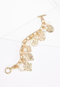 Coin Pearl Charm Bracelet