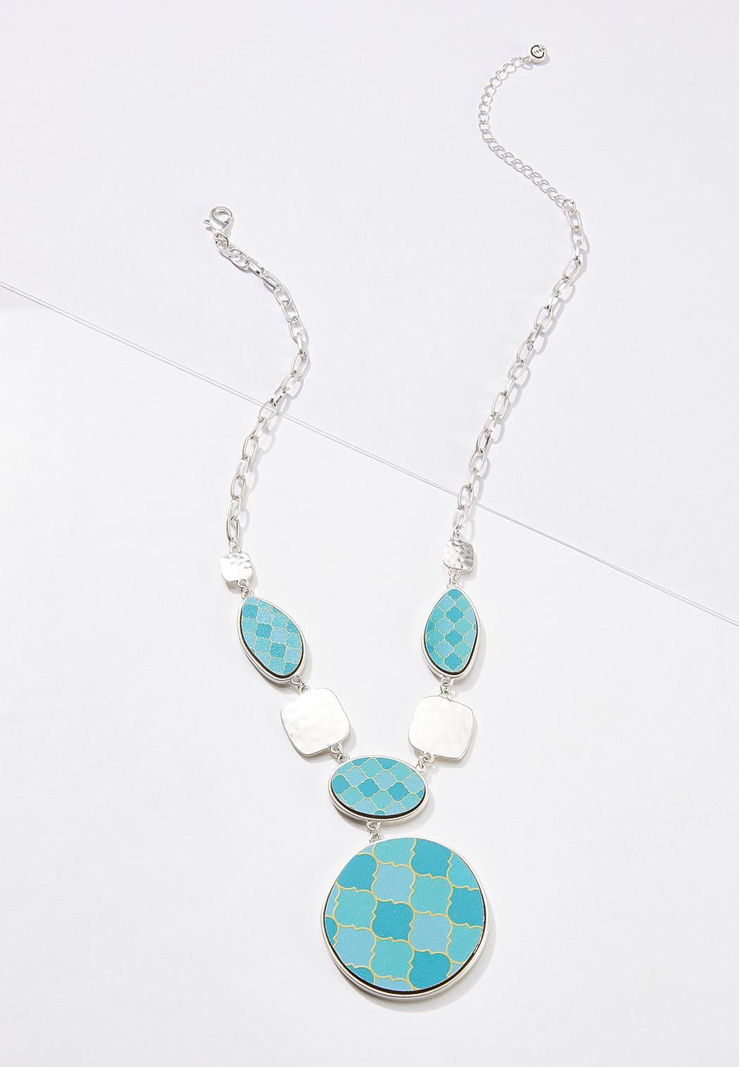 Blue Moroccan Wood Necklace