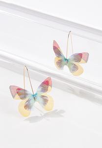 Fabric Butterfly Earrings