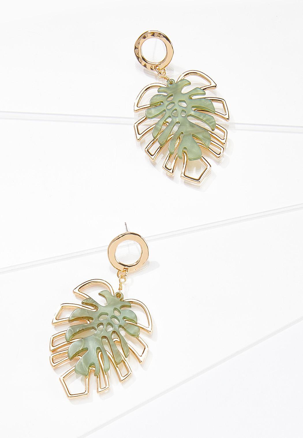 Resin Gold Palm Earrings
