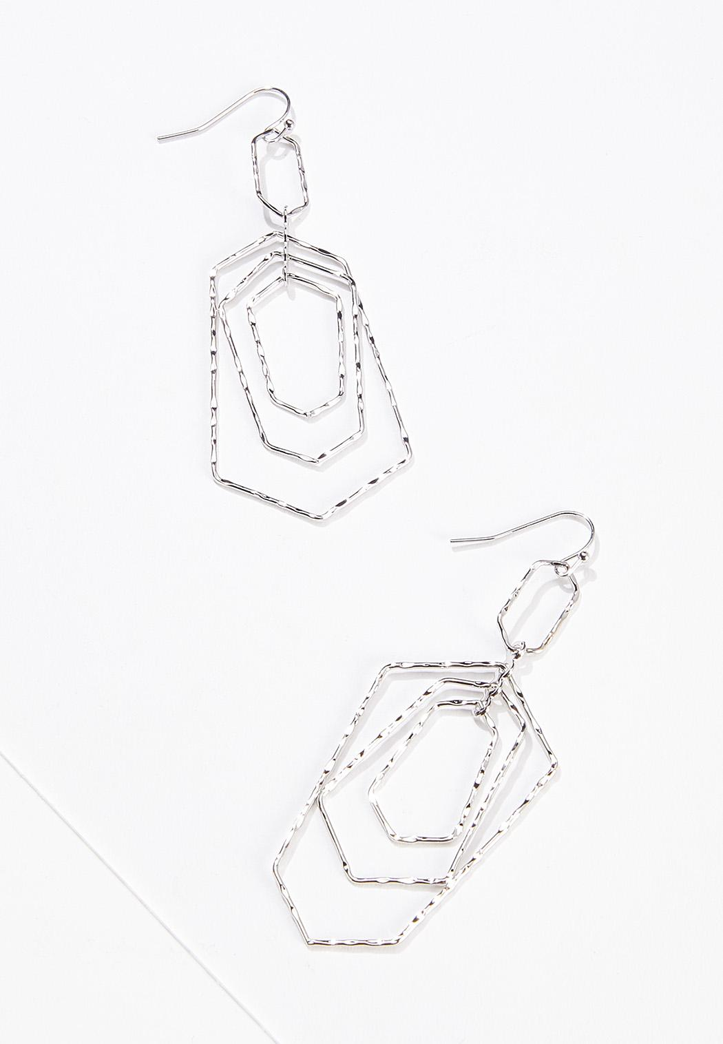 Hammered Hexagon Earrings