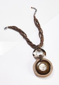 Braided Bead Wood Shell Necklace