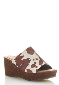 Cow Wide Band Cork Wedges