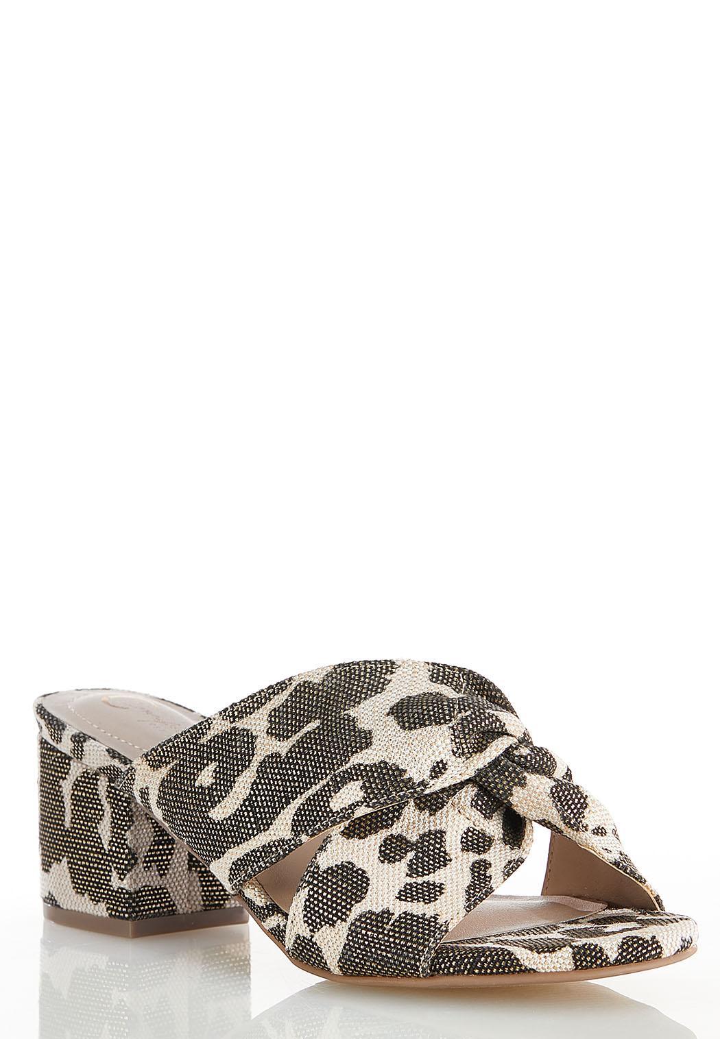 Wide Width Leopard Twist Heeled Sandals