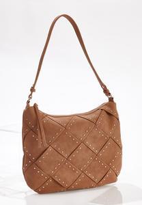 Woven Studded Handbag