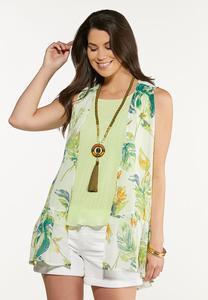 Plus Size Tropical Ruffled Hem Vest