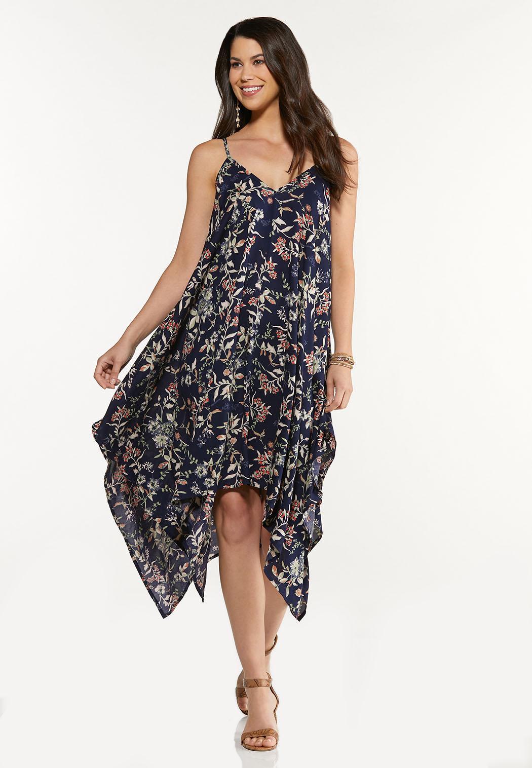 Plus Size Floral Hanky Midi Dress