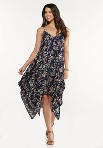 Plus Size Floral Hanky Midi Dress