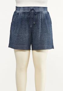 Plus Size Faded Navy Active Shorts