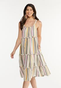 Tiered Stripe Linen Dress