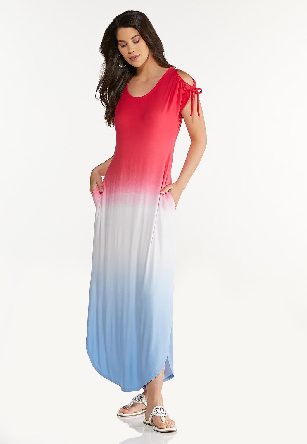 Plus Size Ombre Americana Maxi Dress