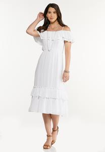 Flounced Off Shoulder Midi Dress