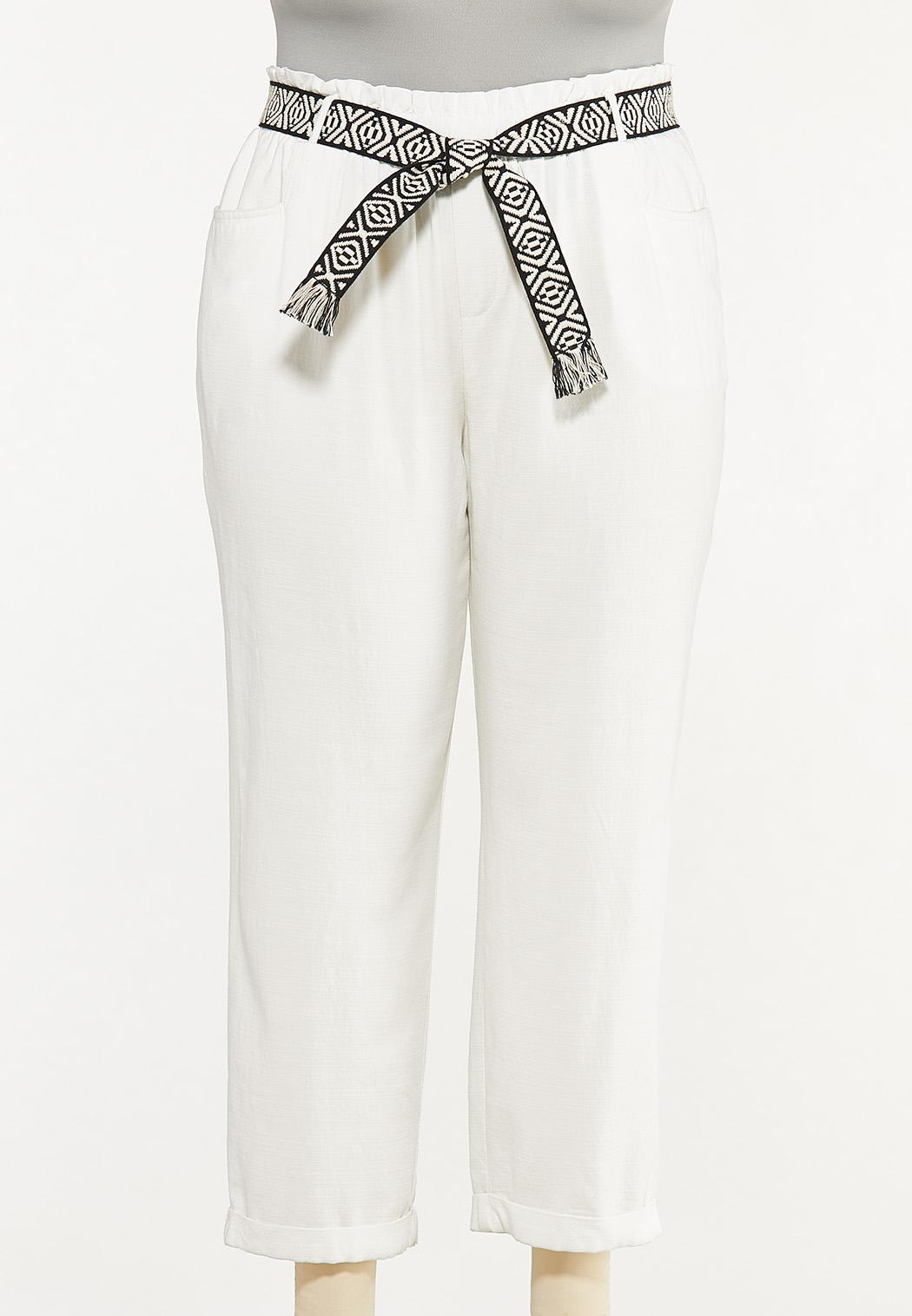 Plus Size Breezy White Belted Pants