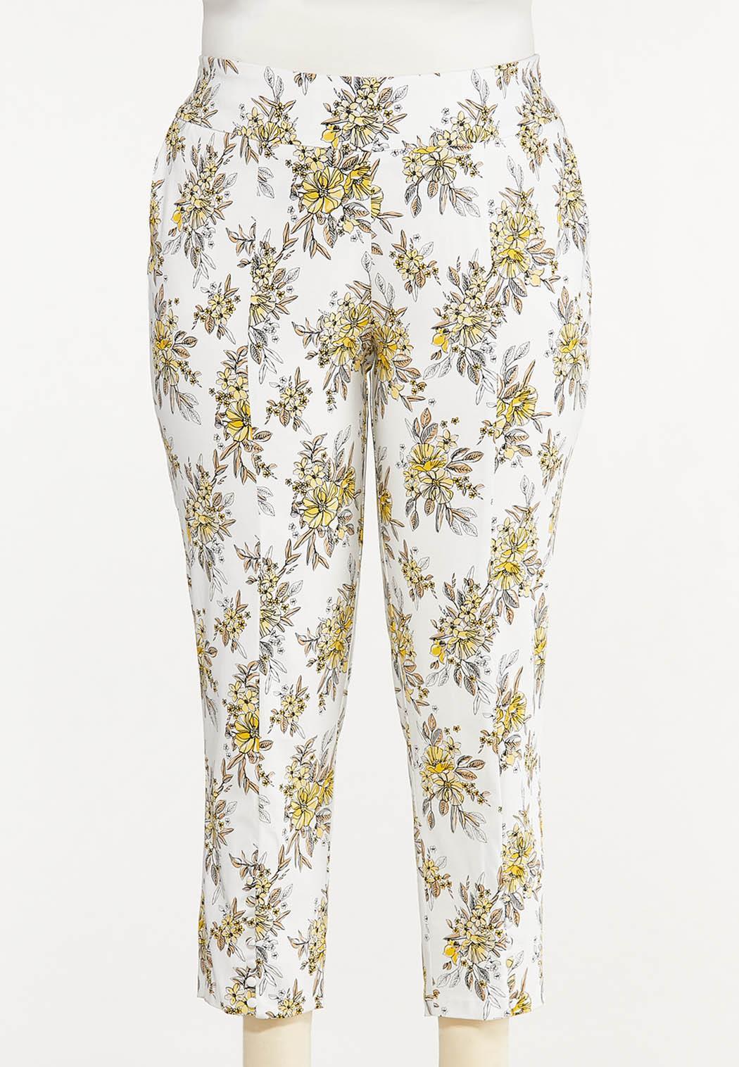 Plus Size Sketch Floral Bengaline Pants