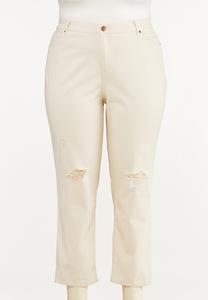 Plus Size Distressed Twill Boyfriend Pants
