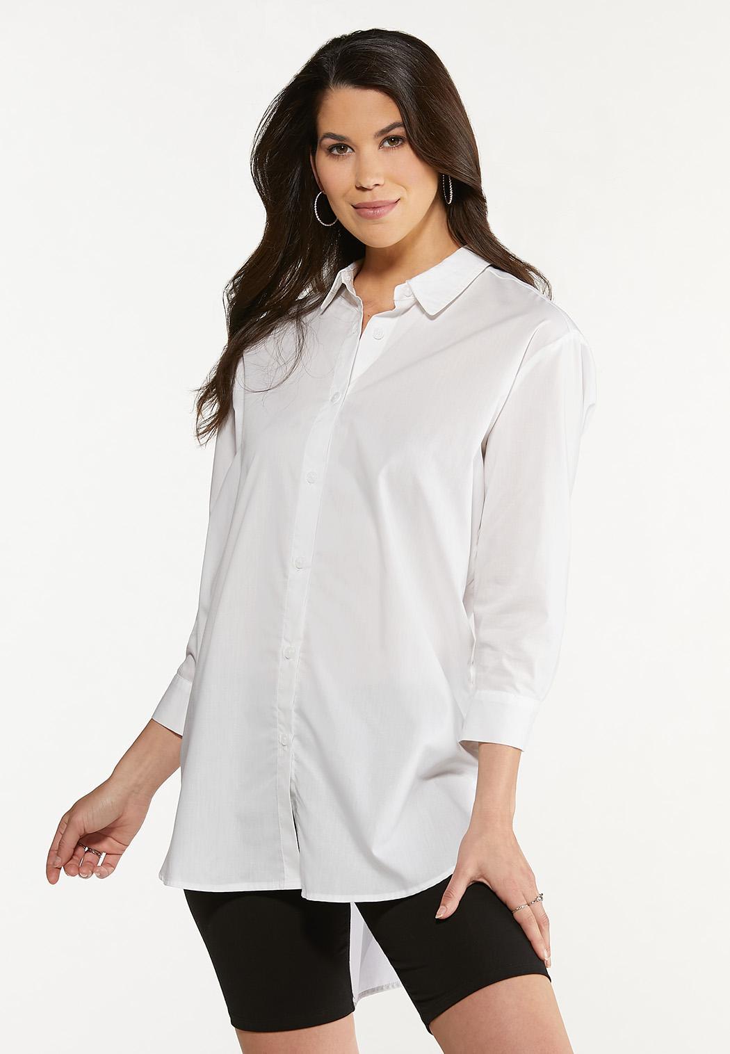 Plus Size Poplin Side Button Tunic