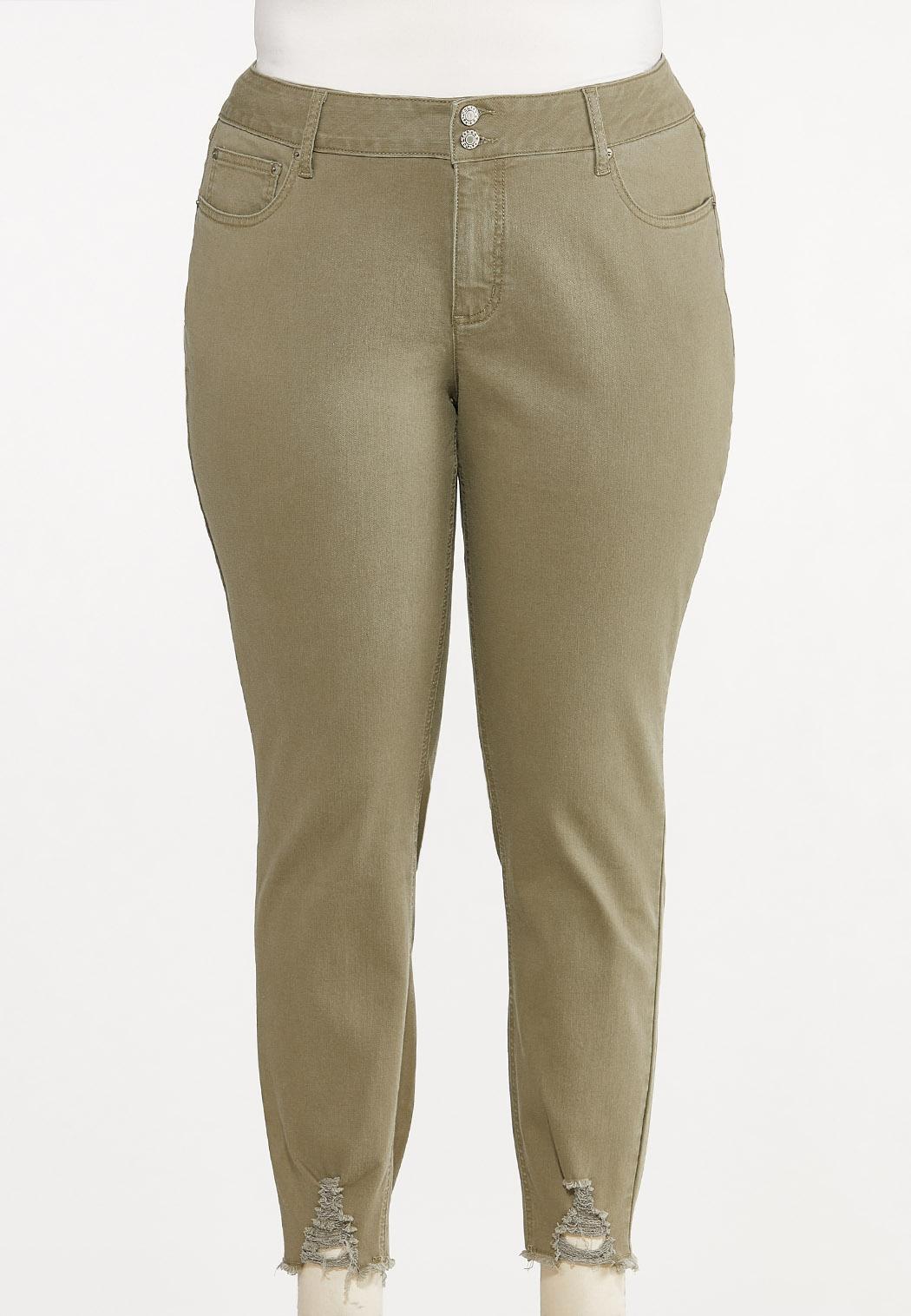 Plus Size Frayed Olive Pants