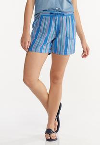 Blue Stripe Linen Shorts