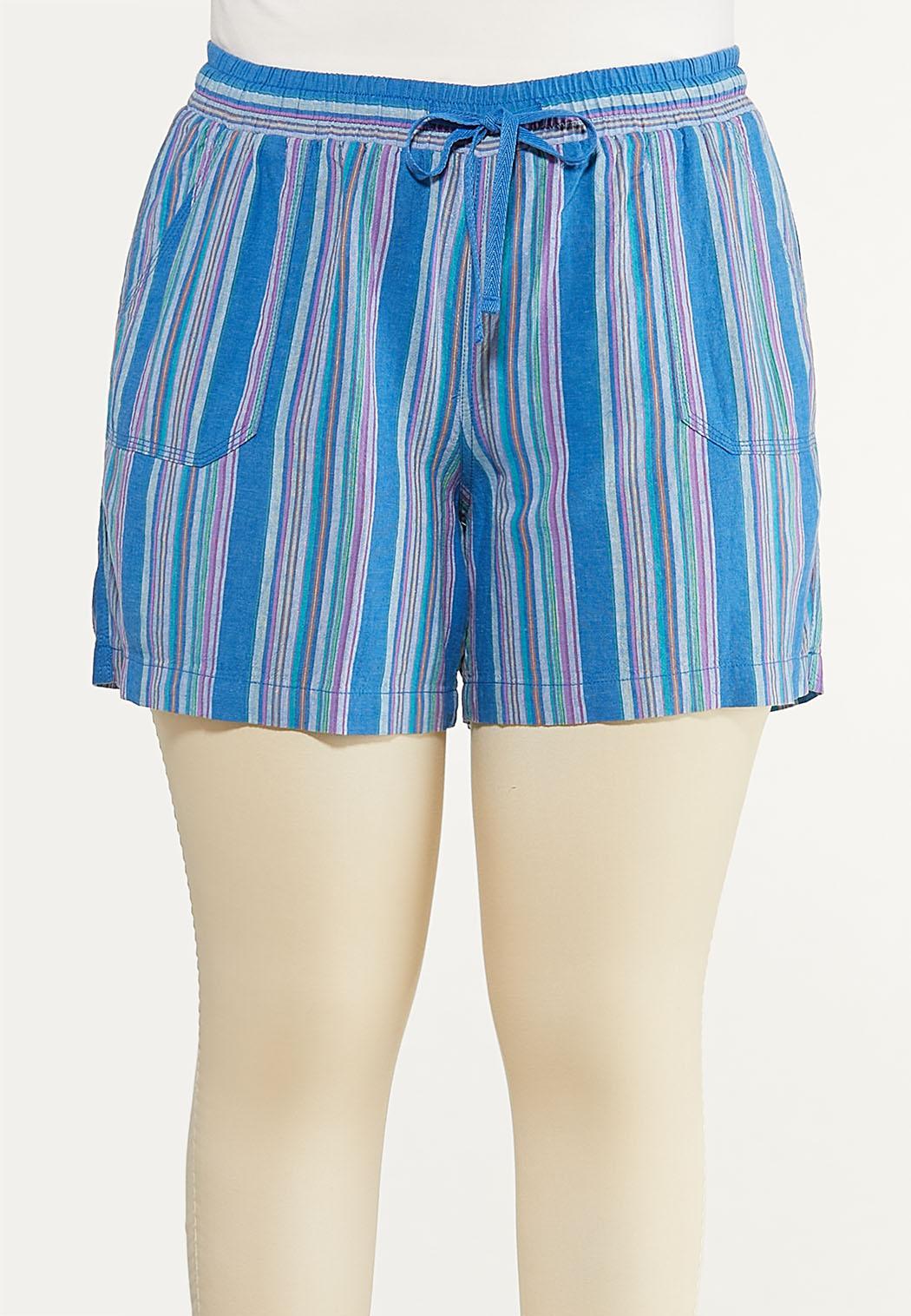 Plus Size Blue Stripe Linen Shorts