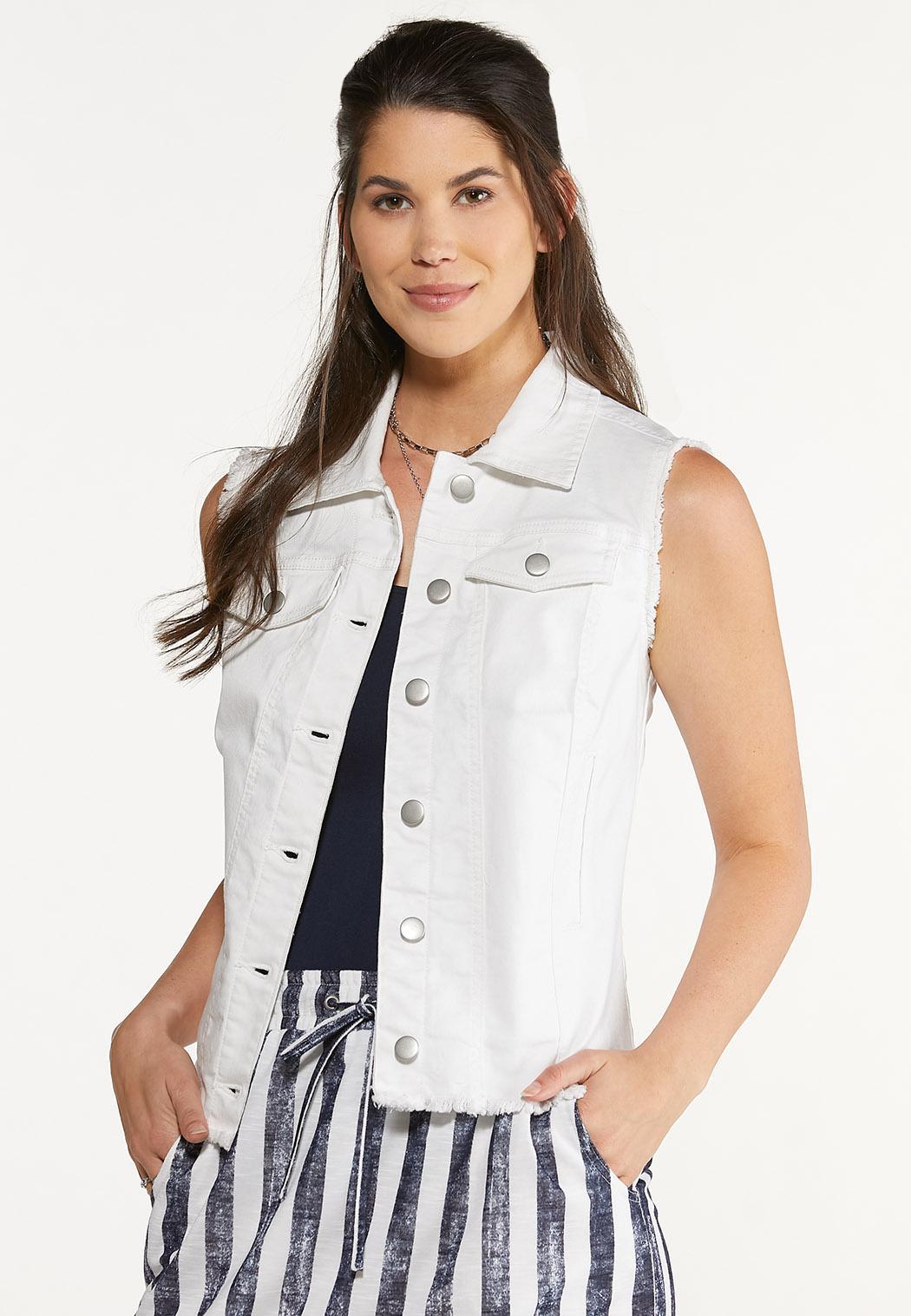 Plus Size White Frayed Denim Vest
