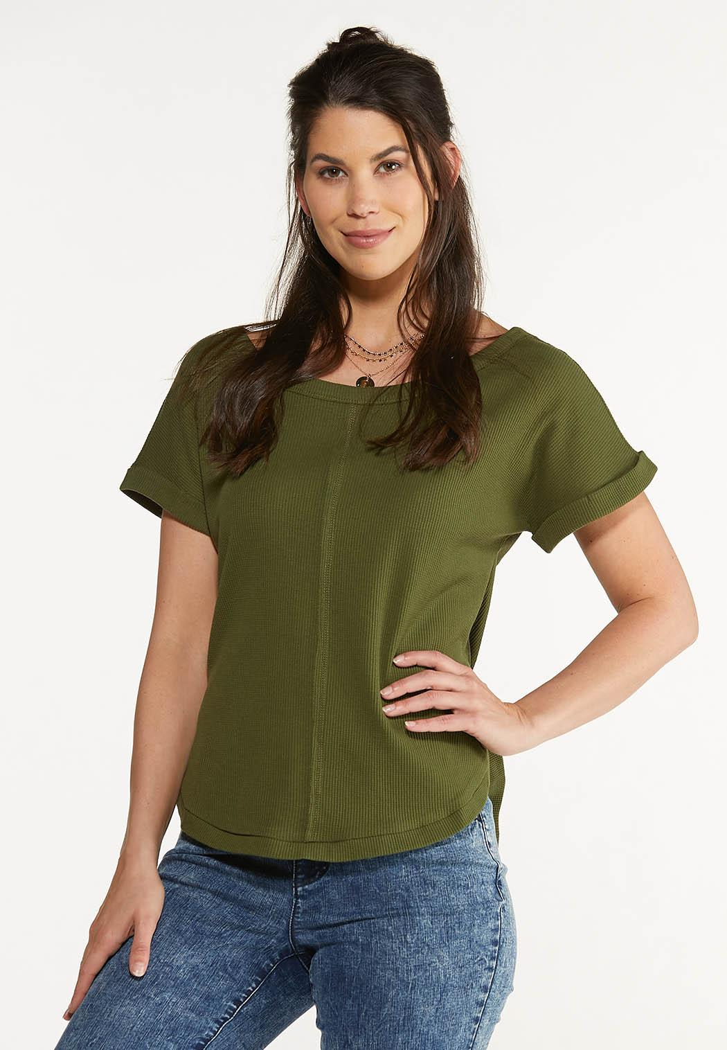 Plus Size Slouch Waffle Top