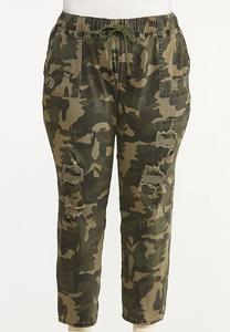 Plus Size Distressed Camo Pants