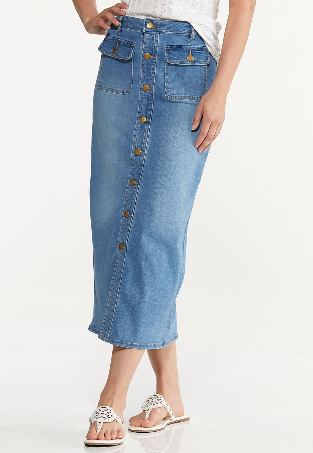 Button Denim Maxi Skirt