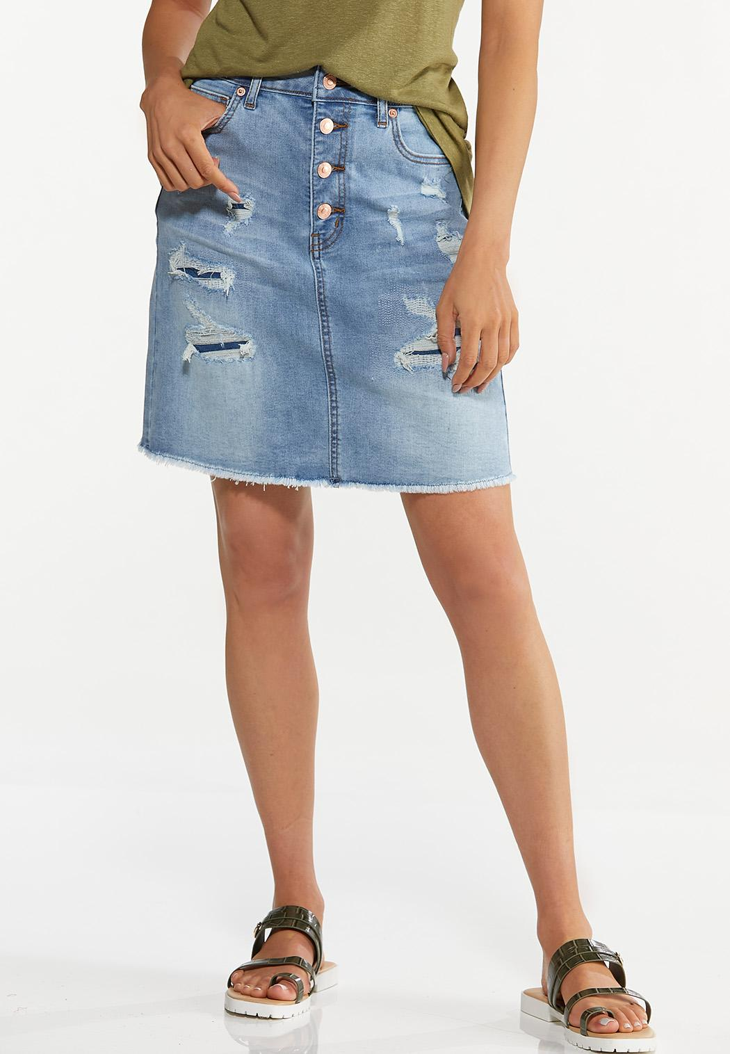 Plus Size Rip And Repair Denim Skirt