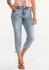 Cropped Distressed Boyfriend Jeans