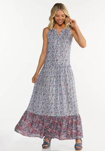 Bordered Floral Maxi Dress
