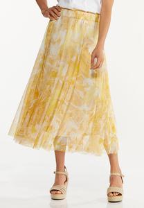 Plus Size Yellow Floral Mesh Midi Skirt