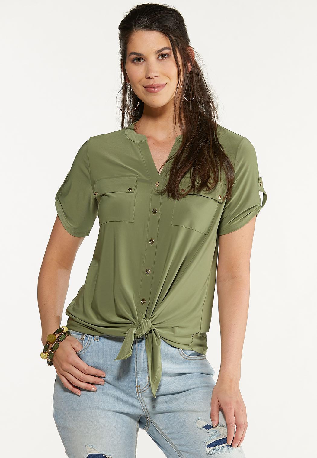 Olive Utility Tie Hem Top