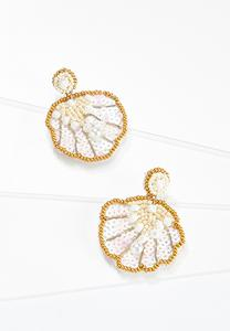 Sequin Shell Fabric Back Earrings