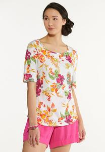 Plus Size Pink Floral Tee