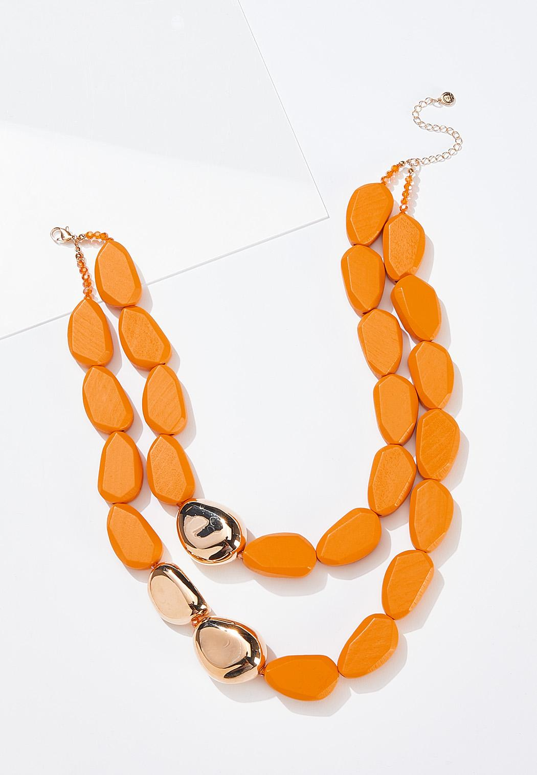 Layered Chunky Wood Necklace