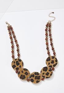 Leopard Circle Statement Necklace