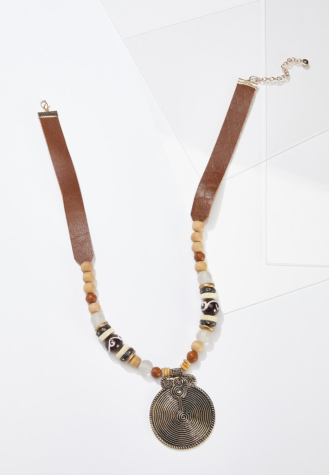 Tribal Pendant Cord Necklace