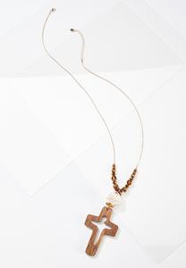 Wood Cross Pendant Necklace