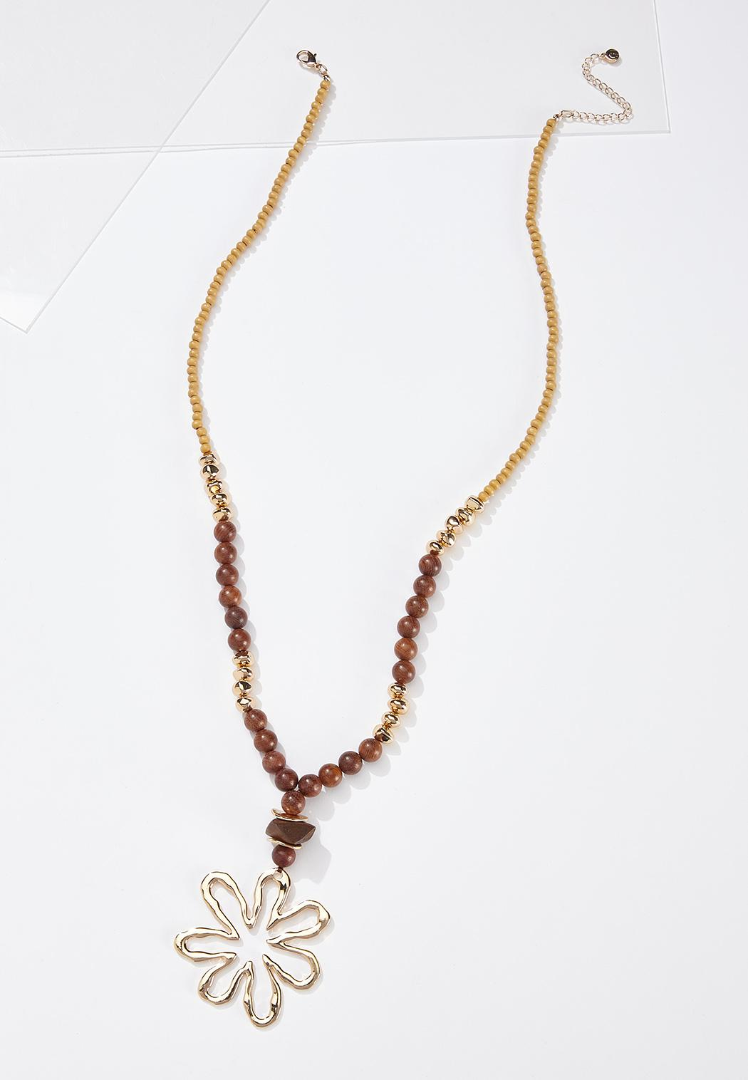 Beaded Gold Flower Pendant Necklace