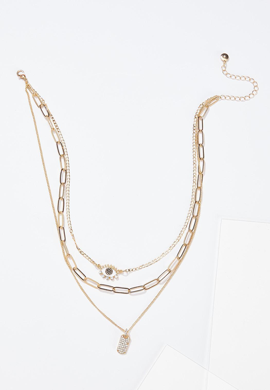 Layered Eyelash Charm Necklace