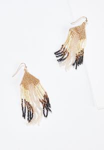 Neutral Seed Bead Fringe Earrings