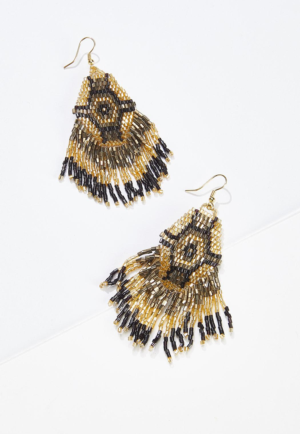 Aztec Seed Bead Fringe Earrings