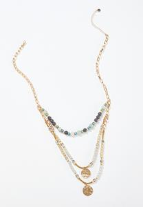 Layered Stone Disc Necklace