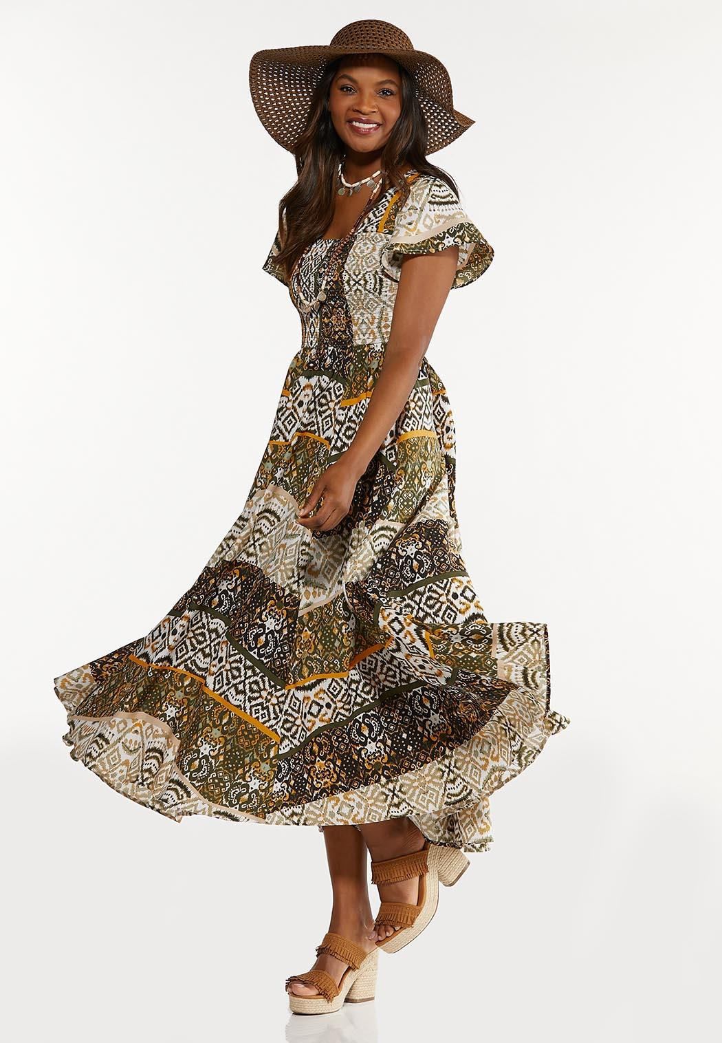 Smocked Aztec Maxi Dress